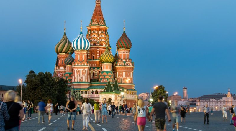 Strada verso la Cattedrale di San Basilio a Mosca
