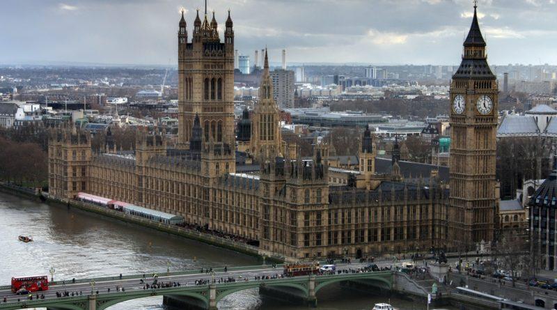 Vista dall'altro del big Ben e del palazzo di Westminster