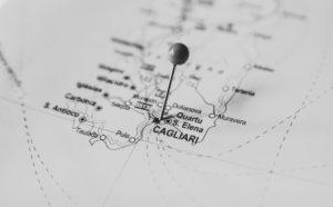 Mappa della Sardegna che indica la posizione di Cagliari